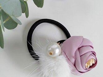 ¶ new antique fur ¶ ピンクフラワーwithパール&ホワイトミンクヘアゴムの画像
