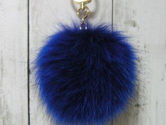 ¶ new antique fur ¶ 鮮やか青染めフォックスファーバッグチャームの画像