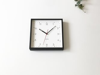 KATOMOKU square clcok 3 ブラック 電波時計 掛け時計 連続秒針の画像