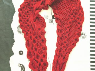50.色で選ぶなわ編みショール/レッドの画像
