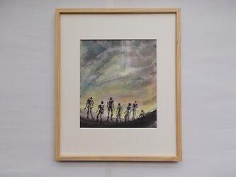 絵画 インテリア 額絵 墨と水彩のコラボ画 出発のときの画像