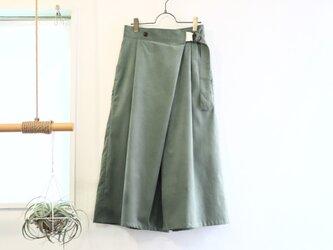 cotton corduroy wrapped gather culottes (smokey green)の画像
