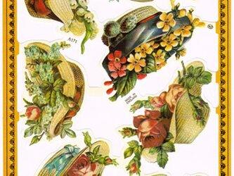 イギリス製クロモス 麦わら帽子と花 ラメなし DA-CHE017の画像