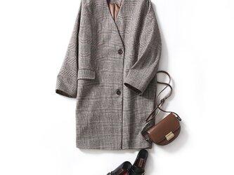 センス高まるVネック ウールコート 秋冬新作 チェック柄コート201102−1の画像