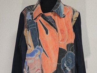 江戸期のぼり古布ジャケット 181116の画像