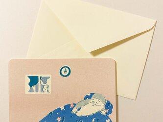 封筒付きカード スリーピングサンタ 2枚の画像