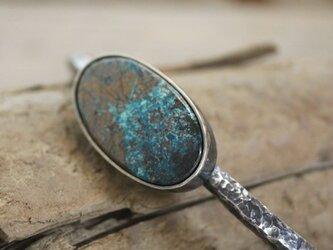 Blue Chrysocolla Bangle Bracelet w/ Silverブルークリソコラのバングル シルバーの画像