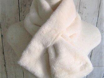 ¶ new antique fur ¶ エコファースリットマフラー◆アイボリーの画像