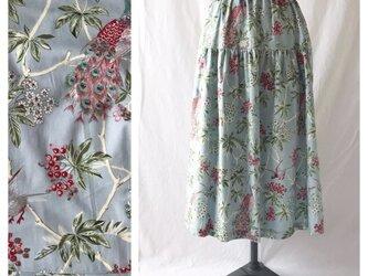 はくだけで美人になれるティアードスカート:80cm丈(クジャクの森:ブルーグレー)の画像