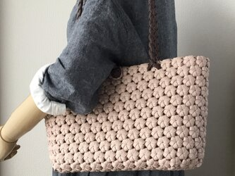 花結び編みのショルダーバッグ  アクアピンク【受注製作】の画像