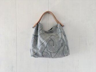 フランス製ジャカード織生地の鞄 内袋濃緑の画像