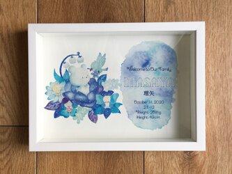 【セミオーダメイド】青い鳥とブルースターの花の命名書の画像