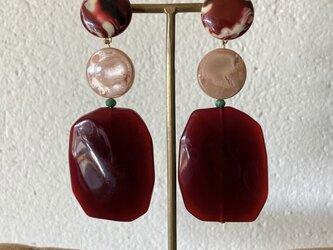 Italian beads earrings (bordeaux)の画像