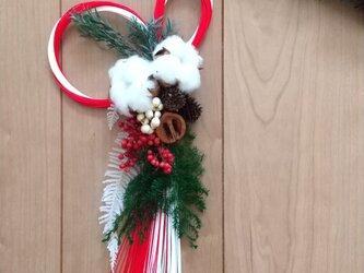 [再販]『受注製作』綿の実とクルミの正月飾り (プリザーブドフラワードライフラワーグリーン アンティーク ギフト)の画像