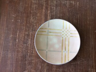 深皿 釉彩格子 黄の画像