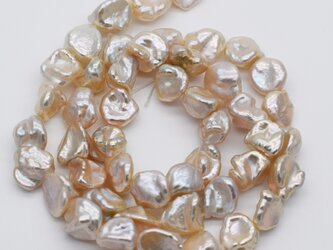連40cm 淡水パール 8~11mm*7~9mm メタリック ホワイトオレンジ系 ケシ バロック 本真珠 ルースの画像
