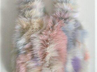 ¶ new antique fur ¶ パステルカラーフォックスエコバッグ型バッグの画像