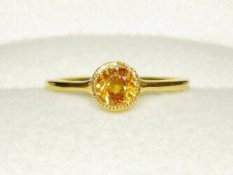 0.65ctスフェーンとSV925の指輪(リングサイズ:9号、サイズ変更可、天然石、K18の厚メッキ、ミル打ち)の画像