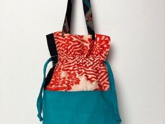 【着物・襦袢リメイク】巾着トートバッグ/ブルー綿・オフ白×赤・紺銘仙の画像