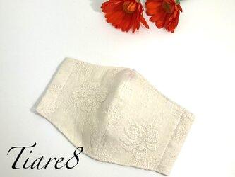 【普通サイズ】ナチュラルな雰囲気◎ふっくら快適で敏感肌にも優しいダブルガーゼ×エレガントなバラ刺繍の生成りガーゼマスクの画像