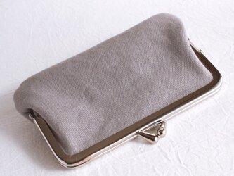 がま口ミニ財布・カードケース コットンキャンバスグレーの画像