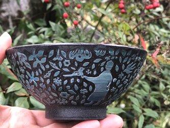 掻き落とし ご飯茶碗- 野うさぎの画像