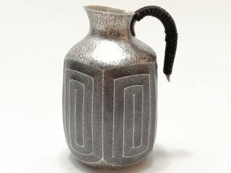 純銀/酒器 五角形徳利 雷文 の画像