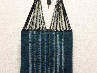 裂き織り 三つ編みトートバッグ(青系・フラットタイプ)の画像