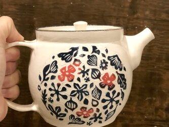 kakiotoshi teapot  — 赤い花と渡り鳥の画像