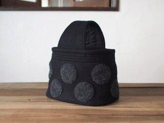 ウール 水玉 ワンハンドル トートバッグ 黒の画像