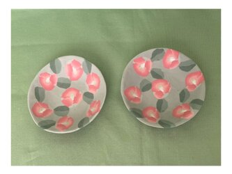 練り込み椿花小皿2枚セットの画像