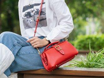 【切線派】がま口バッグ 手作りのレザーショルダーバッグレディース 総手縫いの画像