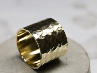 槌目 真鍮フラットリング 15.0mm幅 でこぼこ BRASS RING 375の画像