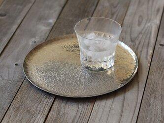 鎚目模様のアルミ盆 [ 白月盆 ロータス ] 八寸の画像