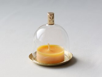 鎚目模様の真鍮皿のミニミニガラスドームの画像