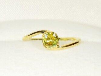 0.40ctスフェーンとSV925の指輪(リングサイズ:9号、サイズ変更可、K18イエローゴールドの厚メッキ、天然石)の画像
