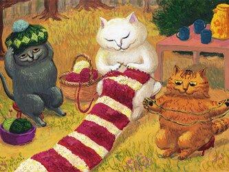 カマノレイコ オリジナル猫ポストカード「編み物」2枚セットの画像