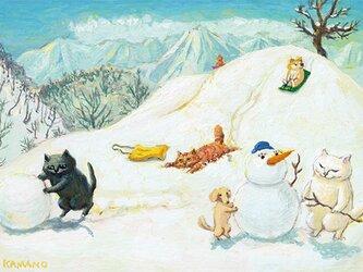 カマノレイコ オリジナル猫ポストカード「雪遊び」2枚セットの画像