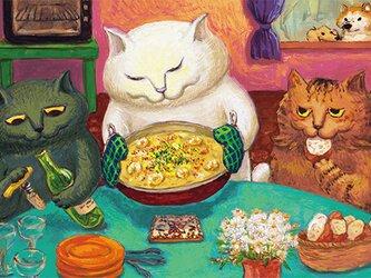 カマノレイコ オリジナル猫ポストカード「グラタン」2枚セットの画像