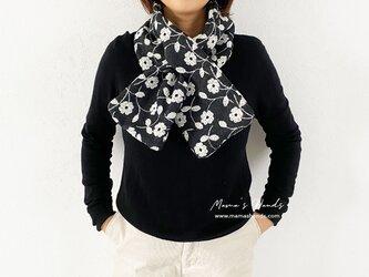 ★数量限定★ 花刺繍 チャコールグレー ウール マフラーの画像