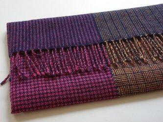 手織りカシミアストール・・バーブシュカ(ピンク×オレンジ)の画像
