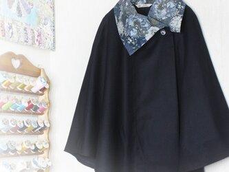 LIBERTYリバティ コーデュロイ(H.H) &ウール100 大き目カラーポンチョ♡の画像