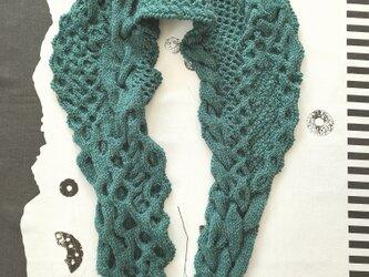 52.色で選ぶなわ編みショール/グリーンの画像