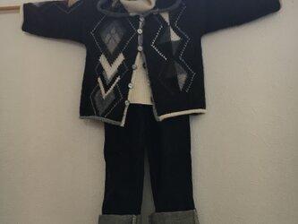 キッズ作品 アーガイル模様 アルパカ使用のフード付き  ジャケットの画像