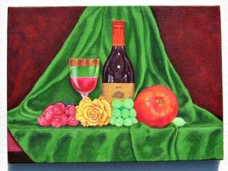 黄色い薔薇とワイン2の画像