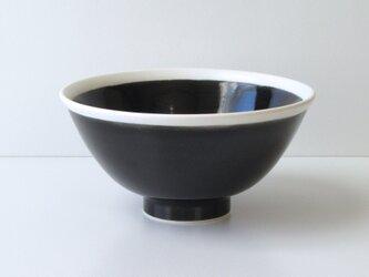 ご飯茶碗 白黒 120×60mmの画像