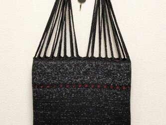 裂き織り 三つ編みトートバッグ(黒系・フラットタイプ)の画像