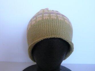草木染毛糸の手編み帽子 AD-282の画像