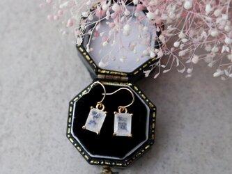 【K18】宝石質レインボームーンストーンの一粒ネックレス(レクタングルカット)の画像