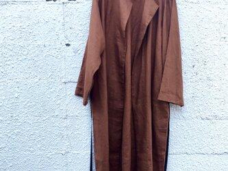 リネン・グログランlongコート(M・L)ブラウンカラーの画像